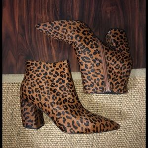 Jeffrey Campbell leopard pony hair ankle boots 10